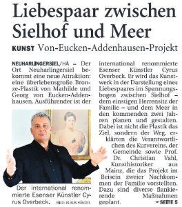 Artikel Anzeiger für Harlingerland - 21. Juli 2018 - Druckausgabe - Titelseite