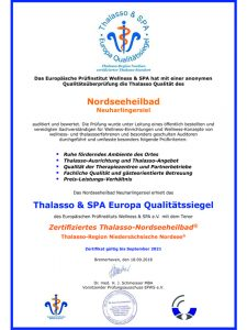 Prüfurkunde Zertifikat Thalasso Nordseeheilbad Neuharlingersiel 2018