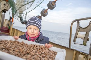 Krabbenkutter und Kind
