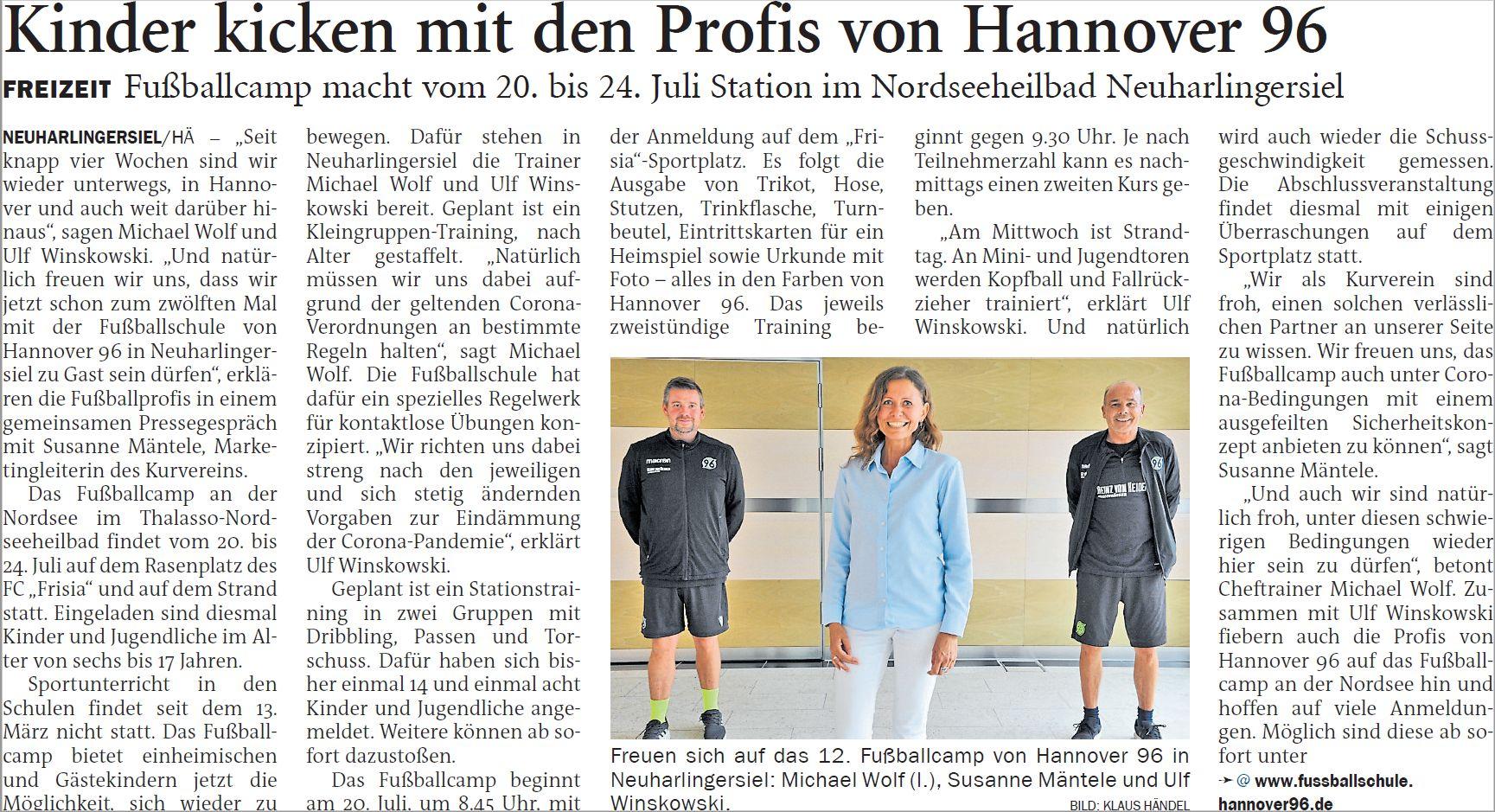 Fußballcamp Hannover 96 in Neuharlingersiel - Bericht Anzeiger für Harlingerland, Klaus Händel